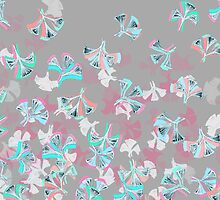 Flight - abstract in pink, grey, white & aqua by micklyn