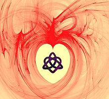A Heart Containing a Celtic Love Knot iPhone Case by Dennis Melling