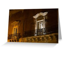 A Glimpse Through the Windows - Sicilian Baroque Palace & Venetian Chandelier Greeting Card