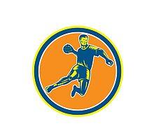 Handball Player Jumping Throwing Ball Circle Woodcut by patrimonio