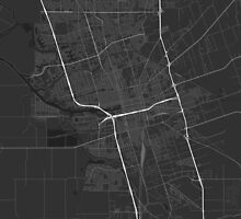 Stockton, USA Map. (White on black) by Graphical-Maps