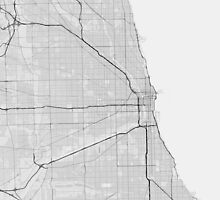 Chicago, USA Map. (Black on white) by Graphical-Maps