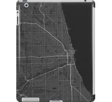 Chicago, USA Map. (White on black) iPad Case/Skin