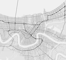 New Orleans, USA Map. (Black on white) by Graphical-Maps
