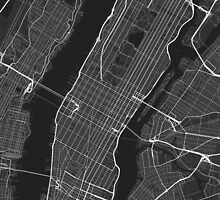 Manhattan, New York, USA Map. (White on black) by Graphical-Maps