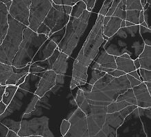 New York, USA Map. (White on black) by Graphical-Maps