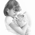 girl and her cat drawing by Mike Theuer