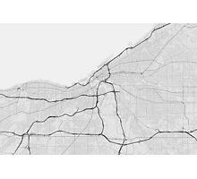 Cleveland, USA Map. (Black on white) Photographic Print