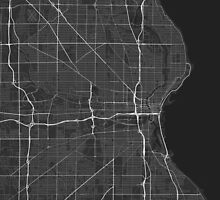 Milwaukee, USA Map. (White on black) by Graphical-Maps