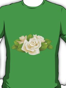Roses, Flowers, Leaves, Petals - White Green   T-Shirt