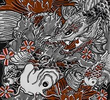Koi fish and koi dragon by Thoricartist