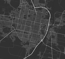 San Miguel de Tucuman, Argentina Map. (White on bl by Graphical-Maps