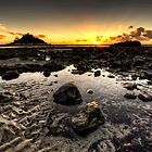 The Sun Sets Over Marazion Beach by PlanetPenwith