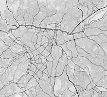 Sao Paulo, Brazil Map. (Black on white) by Graphical-Maps