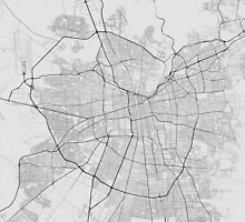 Santiago, Chile Map. (Black on white) by Graphical-Maps