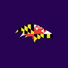 Raven with Maryland Flag by canossagraphics