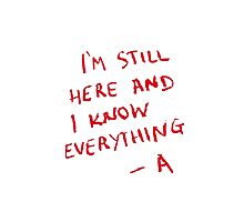 PLL - I'm still here and i know everything... -A Photographic Print