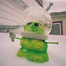 Green Alien Snowman Invader by mdkgraphics