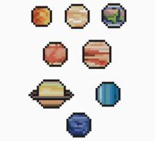 Mini Pixel Planets - Set of 8 by pixelatedcowboy