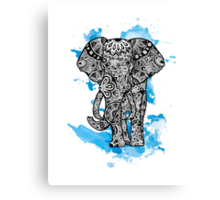 Tribal Elephant- Blue Canvas Print