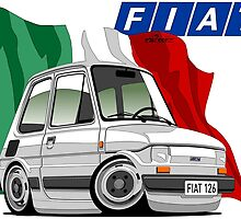 Fiat 126 caricature white by car2oonz