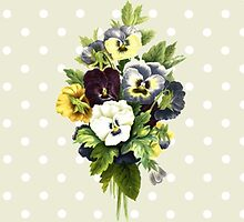 Pansies, Flowers, Leaves - Blue Yellow White by sitnica
