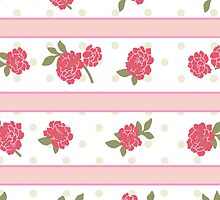 Shabby Chic Stripes, Dots, Roses - Pink Red Green  by sitnica