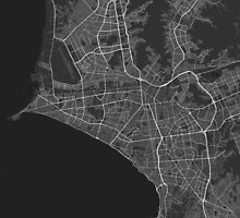 Lima, Peru Map. (White on black) by Graphical-Maps