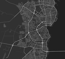 Maracaibo, Venezuela Map. (White on black) by Graphical-Maps