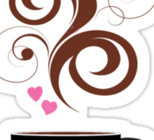 Coffee Cup, Swirls, Hearts - Pink Black Brown  Sticker