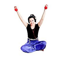 Girl with two red dumbbells in hands Photographic Print