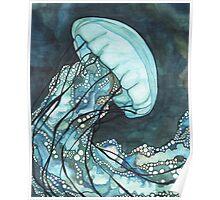 Aqua Jellyfish Poster