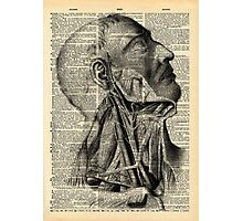 Vintage Dictionary Page Face and Neck  Side Profile Photographic Print