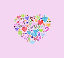 Heart Made of Hearts - Red Blue Green Pink by sitnica