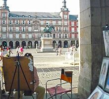 Madrid - Painter at Plaza Mayor by Michelle Falcony