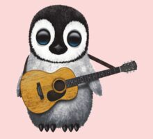 Musical Baby Penguin Playing Guitar Teal Blue Kids Clothes