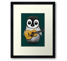 Musical Baby Penguin Playing Guitar Teal Blue Framed Print