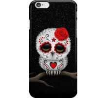 Cute Red Day of the Dead Sugar Skull Owl iPhone Case/Skin