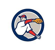 Baseball Pitcher Throw Ball Circle Cartoon by patrimonio