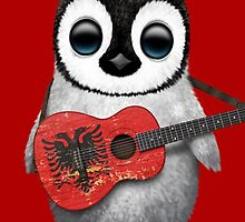 Baby Penguin Playing Albanian Flag Guitar Red by Jeff Bartels