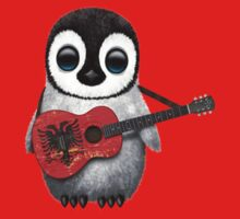 Baby Penguin Playing Albanian Flag Guitar Red Kids Clothes