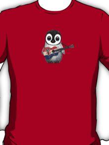 Baby Penguin Playing Croatian Flag Guitar Red T-Shirt