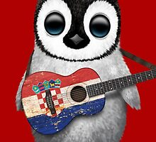 Baby Penguin Playing Croatian Flag Guitar Red by Jeff Bartels