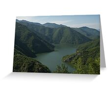 Verdant Mountains Spilling in the Green Water Greeting Card