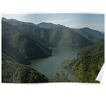 Verdant Mountains Spilling in the Green Water Poster