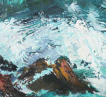 Pacific Rocks California Seascape Acrylics On Paper Fine Art Contemporary Painting Sticker