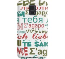 Multi-Language Love, Hearts - Blue Green Red Samsung Galaxy Case/Skin