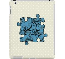 Jigsaw Puzzle Piece, Damask - Blue Black  iPad Case/Skin
