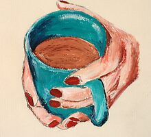 Hands Around A Mug Contemporary Acrylic On Paper Painting by JamesPeart