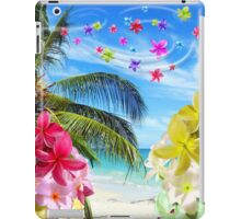Tropical Beach and Exotic Plumeria Flowers iPad Case/Skin